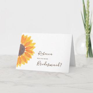 Rustic Yellow Sunflower Bridesmaid Proposal Card