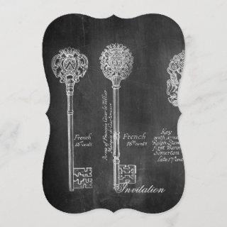 Rusty Chalkboard Victorian steampunk skeleton keys Invitation