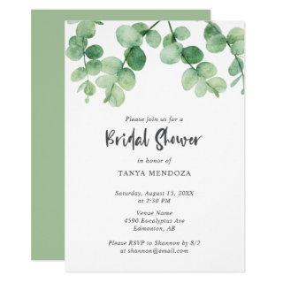 Sage Green Eucalyptus Elegant Bridal Shower Chic Invitations