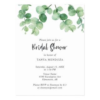 Sage Green Eucalyptus Leaf Bridal Shower Chic Postcard
