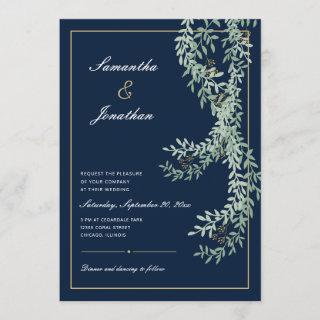 Sage Green Leaf Vines | Navy Blue Wedding Invitation