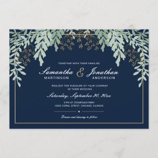 Sage Green Leaves on Dark Blue | Wedding Invitation