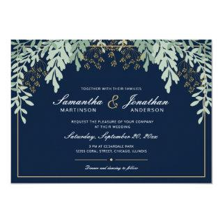 Sage Green Leaves on Dark Blue | Wedding Invitations
