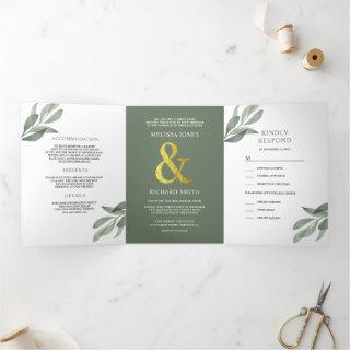 Sage Green Olive Leaves Branch All in One Wedding Tri-Fold