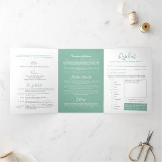 Sage green white little heart wedding all-in-one Tri-Fold Invitations