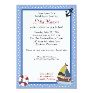 Sailboat Sailing Nautical 5x7 Bridal Shower Invite