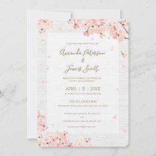 Sakura Japanese Cherry Blossoms Wedding Invitations