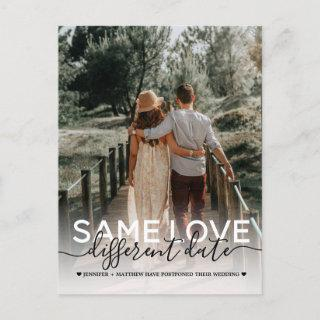 Same Love Different Date Wedding Typography Photo Announcement Postcard