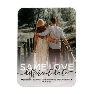 Same Love Different Date Wedding Typography Photo Magnet