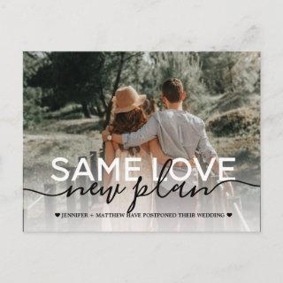 Same Love New Plan Wedding Typography Photo Announcement Postcard