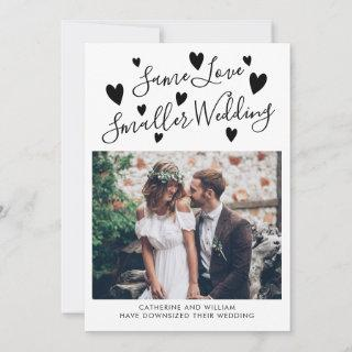 Same Love Smaller Wedding Downsizing Hearts Photo Announcement