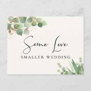 Same Love Smaller Wedding Eucalyptus Cream Announcement Postcard