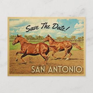 San Antonio Texas Save The Date Horses Announcement Postcard
