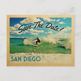 San Diego Save The Date California Surfing Announcement Postcard