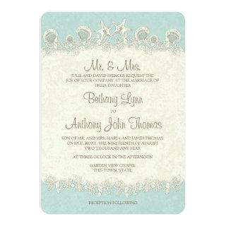 Sand and Stars Shell Garland Wedding Invitation
