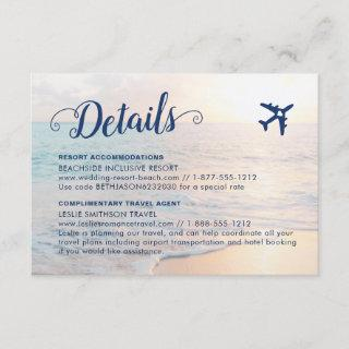 Sand Beach Wedding Details Accommodations Travel Enclosure Card