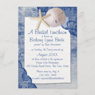 Sand Dollar and Lace Blue Bridal Shower Invitations