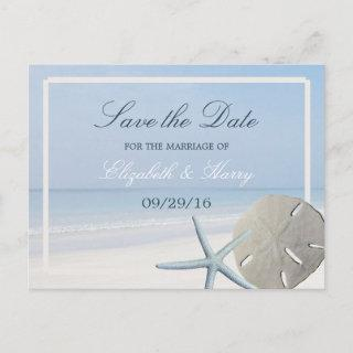 Sand Dollar and Starfish Beach Save The Date Announcement Postcard