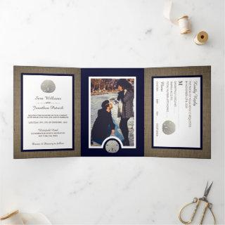 Sand Dollars & Burlap Navy Beach Wedding Suite Tri-Fold Invitation