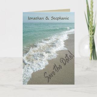 Sand Writing on the Beach, Save the Date Cards