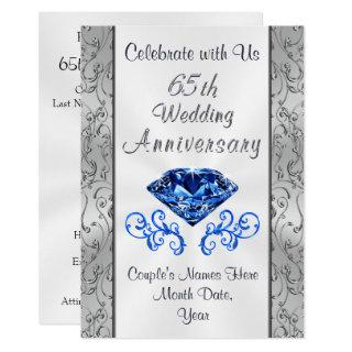 Sapphire 65th Wedding Anniversary Invitations