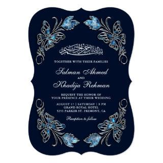 Sapphire Blue Floral Butterflies Islamic Wedding Invitations