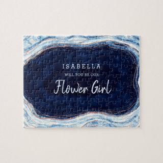 Sapphire Blue Geode Be Our Flower Girl Proposal Jigsaw Puzzle