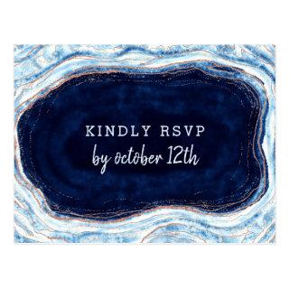 Sapphire Blue Geode Slice Wedding Meal Choice RSVP Postcard