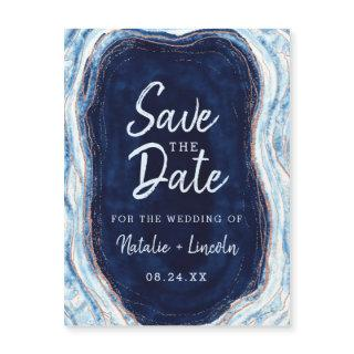 Sapphire Blue Geode Slice Wedding Save the Date Magnetic Invitations