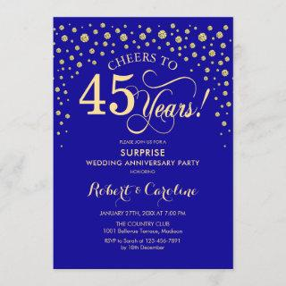 Sapphire Blue Gold Surprise 45th Anniversary Party Invitations