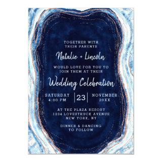 Sapphire Blue Rose Gold Geode Agate Marble Wedding Invitations