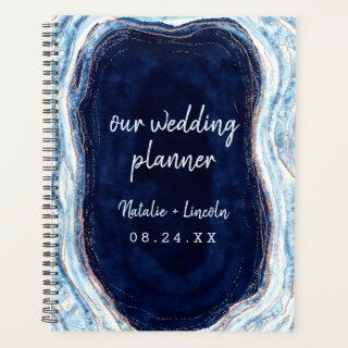Sapphire Blue Rose Gold Geode Agate Wedding Plans Planner