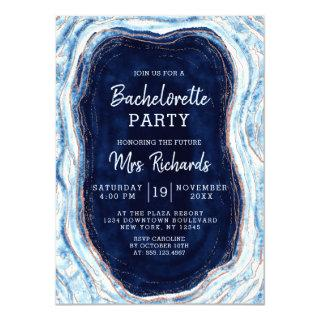 Sapphire Blue Rose Gold Geode Bachelorette Party Invitation
