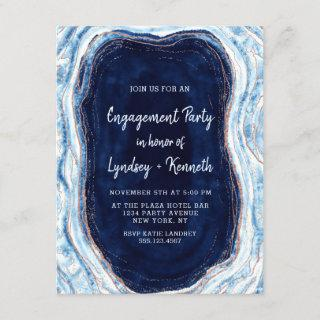 Sapphire Blue Rose Gold Geode Engagement Party Invitation