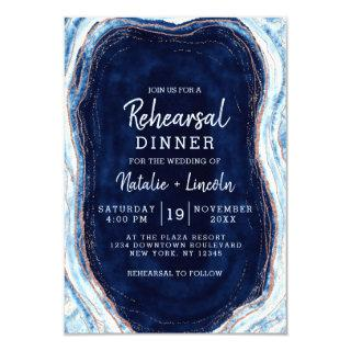 Sapphire Blue Rose Gold Geode Rehearsal Dinner Invitation