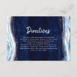 Sapphire Blue Rose Gold Geode Wedding Directions Enclosure Card