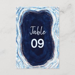 Sapphire Blue Rose Gold Wedding Table Numbers