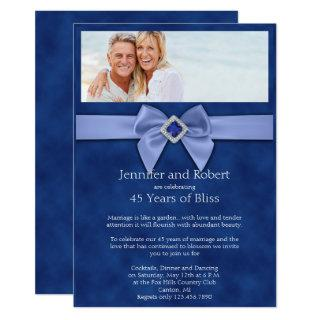 Sapphire Bow 45th Wedding Anniversary Invitation