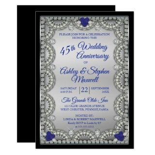 Sapphire Diamond 45th Wedding Anniversary Party Invitations