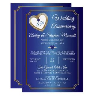 Sapphires Diamonds 45th Wedding Anniversary Party Invitation