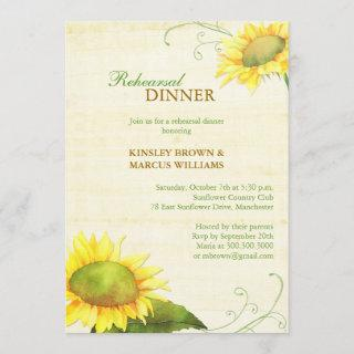 Sassy Country Sunflowers Rehearsal Dinner Invitations