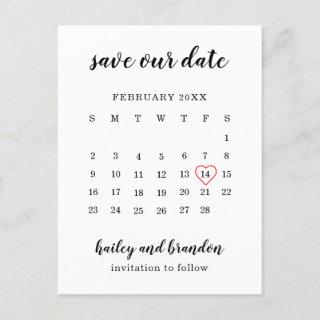 Save Our Date Calendar Red Heart Save the Date Announcement Postcard