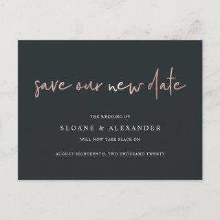 Save Our New Date Modern Wedding Postponement Announcement Postcard