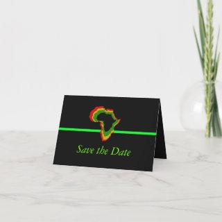 """""""Save the Date"""" Africa w/ Pan African Colors [Gree Invitations"""