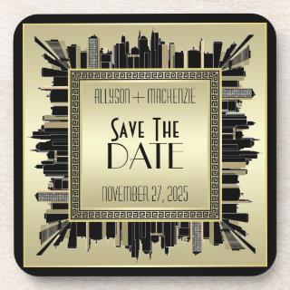 Save the Date Art Deco Champagne Gold Gatsby Glam Beverage Coaster