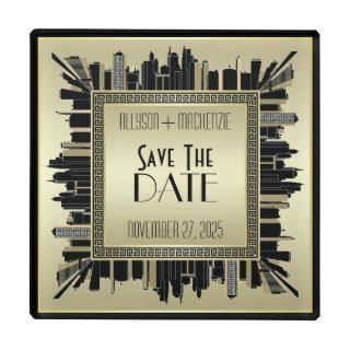 Save the Date Art Deco Champagne Gold Gatsby Glam Glass Coaster