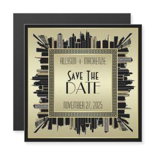Save the Date Art Deco Champagne Gold Gatsby Glam Magnetic Invitations
