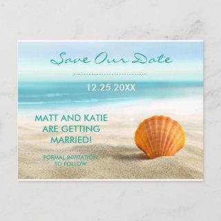 Save the Date Beach and Shell Wedding Postcard