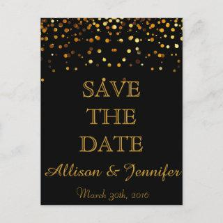 Save the date Black and Gold Glitter Faux Foil Announcement Postcard