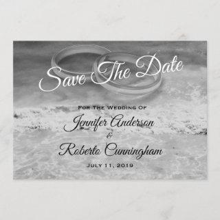 Save The Date Black and White Beach Postcard
